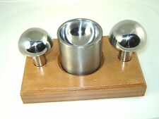 "Cupola Punch & Die Set 2 1/2 and 2 3/4"" punches with Double Sided Die and Stand"