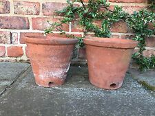 "Pair of Rare Old Hand Thrown Terracotta Plant Pots Side Drainage 9"" Diameter (1)"
