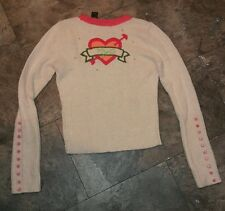 DKNY Jeans Vintage Women's Sweater Beige & Pink I Love NYC Retro Style