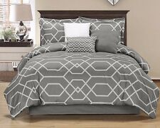 Chezmoi Collection 3-Piece Hexagon Geometric Print Duvet Cover Set Queen, Gray