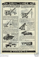 1926 PAPER AD Structo Toy Giant Steam Shovel Lift Crane Whippet Tank Hercules