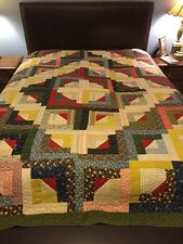 Antique Hand Stitched Log Cabin Style 19th C. Quilt Lancaster Pennsylvania 90x86