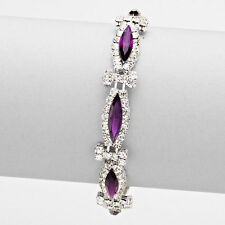 Silver Purple and Clear Colored Marquise Crystal Rhinestone Wrap Bracelet