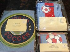 Pottery Barn Kids Soccer Party Table Runner Gift Bags Thank You Notes 8pc New
