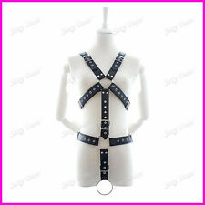 Mens Black leather chest harness full with ring clubwear dancewear party wear ok