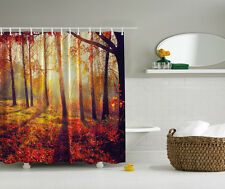 SUNNY FOREST FALLING LEAVES FALL SEASONAL SUNSET FIELD BATHROOM SHOWER CURTAIN