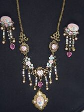 VINTAGE DESIGNER INSPIRED JEWELED and ENAMEL STATEMENT NECKLACE and EARRING SET