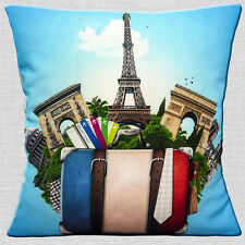 "FRENCH ICONS PARIS FRANCE EIFFEL TOWER LUGGAGE TRAVEL  16"" Pillow Cushion Cover"