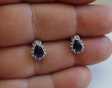 925 STERLING SILVER TEARDROP STUD EARRINGS W/ 2 CT MAN MADE SAPPHIRE & ACCENTS