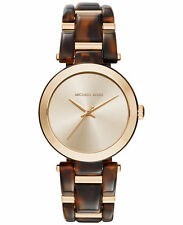 NWT Authentic Michael Kors Women's Delray Tort Watch MK4314 Gold Tortoiseshell
