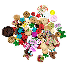 90pcs Assorted Shape Wooden Buttons For Sewing Scrapbooking DIY Craft