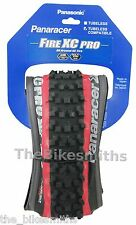 "Panaracer Fire XC Pro 26 x 2.1"" Folding MTB Bike Tire Black/Red Tubeless Ready"