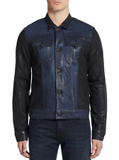 NWT Mens True Religion Danny Moto Trucker Slim Black/Blue Waxed jacket L $328