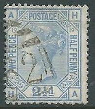 1875-80 GRAN BRETAGNA USATO EFFIGIE 2 1/2 P 57 NUMERO TAVOLA 19 - U2-3