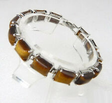 Genuine Tigereye Tiger's Eye Opal White Gold Plated Link Clasp Bangle Bracelet