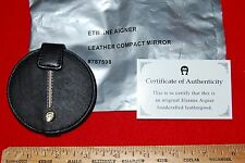 "NEW! ETIENNE AIGNER BLACK LEATHER DOUBLE COMPACT MIRROR  3"" DIA"