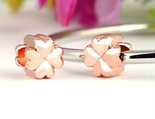 ROSE GOLD PLATED FOUR LEAF CLOVER CHARM BEAD FOR BRACELET OR NECKLACE
