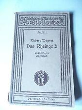 """""""RHEINGOLD"""" vollst. Opernbuch von Richard Wagner"""