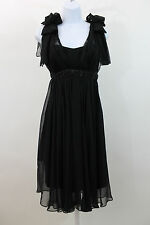 MARCHESA NOTTE BLACK SILK BEADED SHEER COCKTAIL FORMAL PARTY DRESS SZ 8