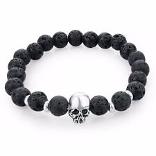 Elasticated Beaded Lava Energy Stone Skull Bracelet/Bangle/Anklet/8mm Beads
