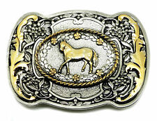 Horse Belt Buckle Pony Floral Western Womens Authentic White Wolf 24ct Gold