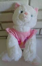"""Build a Bear plush stuffed kitty cat white with pink shirt CUTE 13"""" Pre Owned"""