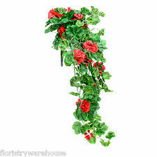 Artificial silk red Geranium bush 80cm hanging basket window box flowers