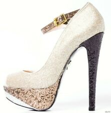 new BETSEY JOHNSON gold glitter MaryJane open-toe PLATFORMS heels shoes 8 - SEXY