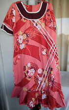 Hawaiian MuuMuu | XL Large | Pink Red Yellow Hawaii MuMu Dress