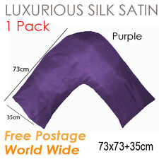 Silky Satin V Shaped /Tri / Boomerang Standard Pillow case Cushion Covers-Purple