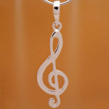 Eleagnt 925 Sterling Silver Treble Clef Note Musical Pendant & Gift Velour Strap