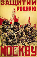 Defend Moscow Russian Soviet WW2 Army Military 24x32 inch Vintage Poster