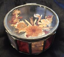 Lovely Leaded Glass Trinket Box With Dried Flower Design