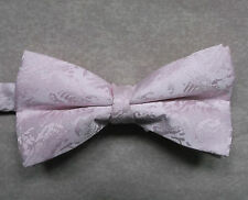 """NEW LUXURY BOW TIE MENS BOWTIE PALE ROSE PINK SHIMMERY PATTERN 14"""" - 21.5"""""""