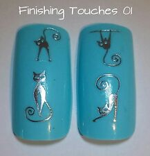 Animal Nail Transfer- Shiny Metallic Silver Cat Decal #270 Y-063 Sticker Wrap