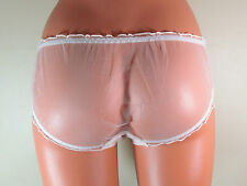 Nude sheer sexy stretchy frilly edged bikini panties briefs knickers M R13867