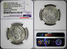 Colombia Silver 1892 50 Centavos Columbus' Discovery Ngc Au Details Km# 187.2