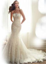 New White/Ivory Lace Mermaid & Trumpet bridal wedding dress custom made size