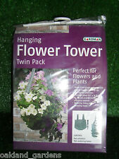PROFESSIONAL TWIN PACK HANGING FLOWER TOWER GARDEN PLANTER BASKETS PLASTIC