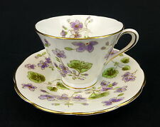 Tuscan Cup and Saucer Footed Fine English Bone China Purple Flowers Scalloped