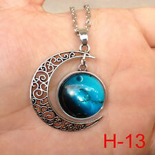 New arrival  Colorful Galaxy Glass Hollow Moon Shape Pendant Tone Necklace j75