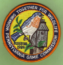 """Pa Pennsylvania Game Commission NEW 4"""" 1984 WTFW Male Eastern Bluebird Patch"""