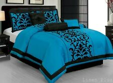 7 Piece Turquoise Black Comforter Set Queen Size DT6 Flocked @ LinenPlus