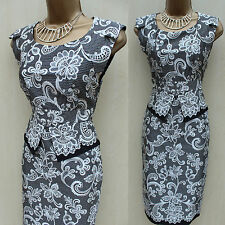 Karen Millen Black White Silk Floral Lace Print Cocktail Wiggle Peplum Dress 10