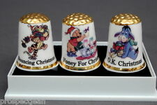 Winnie The Pooh,Tigger & Eeyore Christmas Boxed Set of Gold Topped Thimbles