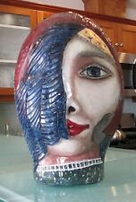 Art Deco BUST STATUE HEAD of Woman in Glass & Ceramic, Polychrome, Signed Ales