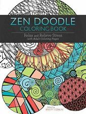 ZEN DOODLE Adult COLORING BOOK Relax Relieve Stress Calming Anxiety Art therapy