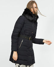 ZARA NAVY FEATHER DOWN PUFFER QUILTED LONG JACKET COAT SIZE S UK 8