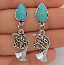 "1.7"" Cool Musical Instruments Saxophone Resin Turquoise Women Pageant Earrings"