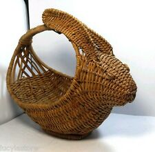 "Vintage Bunny Rabbit Wicker hand made Basket with Handle 13"" x 10"" x 6"""
